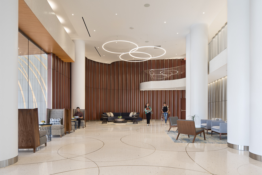 Lobby interiors at the Pacific Gate designed by KPF