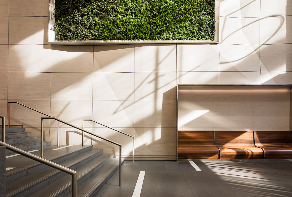 Renovated lobby by MdeAS Architects at Olympic Tower owned by Oxford Property Group