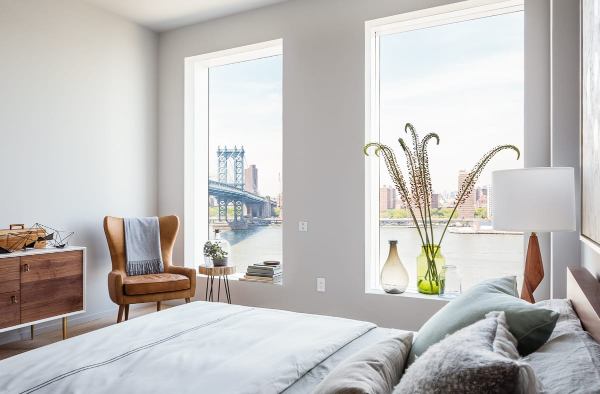 Interior Design One John St apartment's master bedroom in Dumbo, Brooklyn by Alloy Development