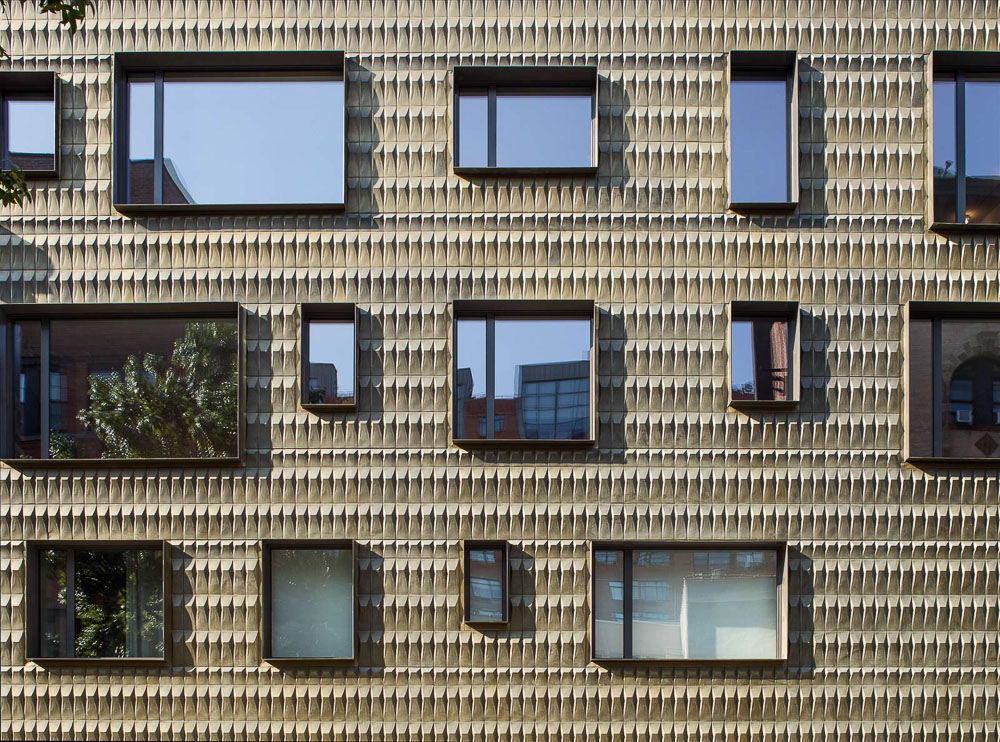 Facade details of Residential Multi-Family Housing at 210 Pacific St. designed by NAVA, Brooklyn, New York.