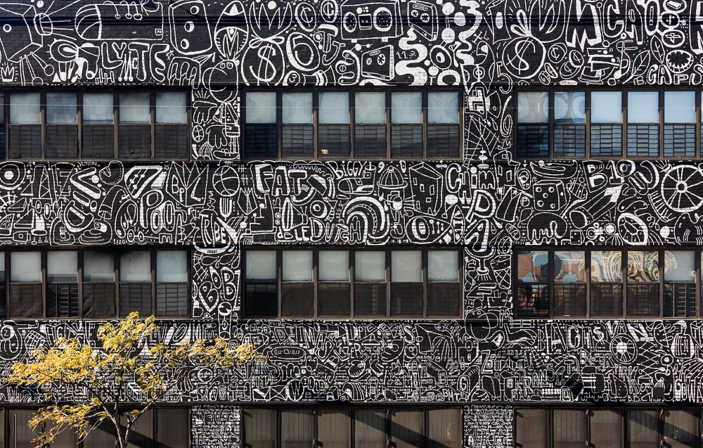 Details of 80 Flatbush mural by the artist Katie Merz in Brooklyn