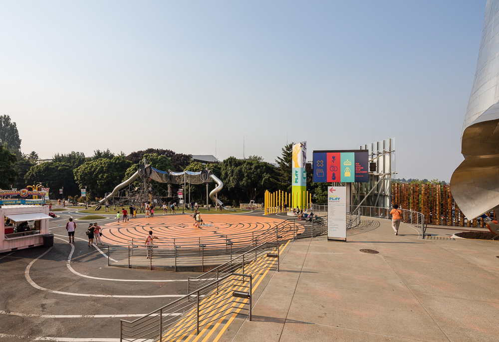 View of the playground in front of the Museum of Pop Culture