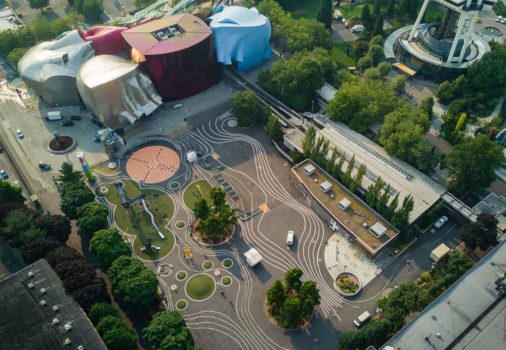 Aerial View Of The Museum of Pop Culture and the playground