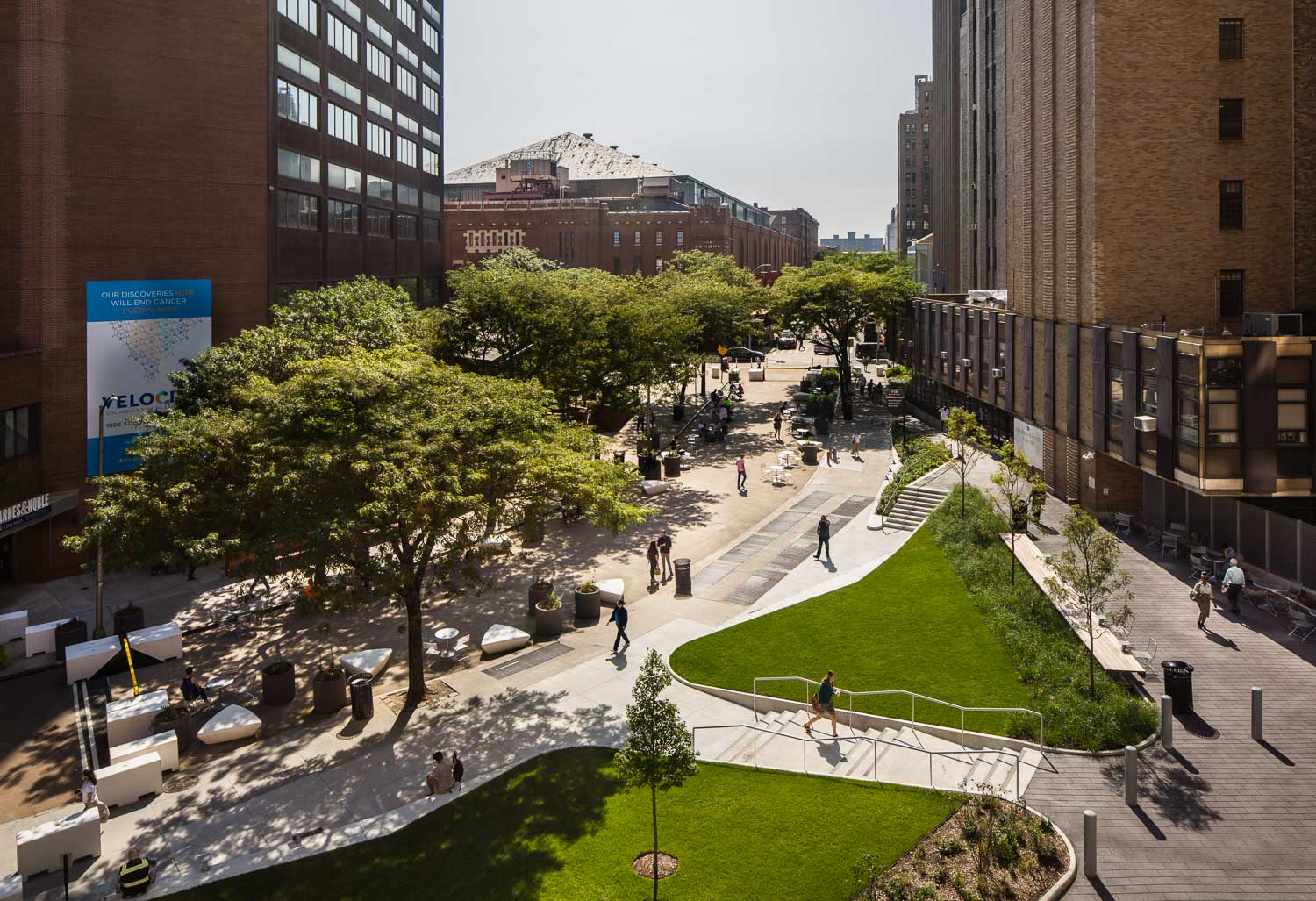 Aerial view of the Haven Plaza designed by FXCollaborative Architects