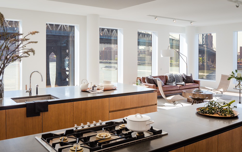 Kitchen area of a One John St apartment in DUMBO, by Alloy development