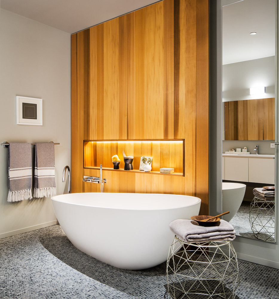 Master bathroom of a One John St apartment in DUMBO, by Alloy development