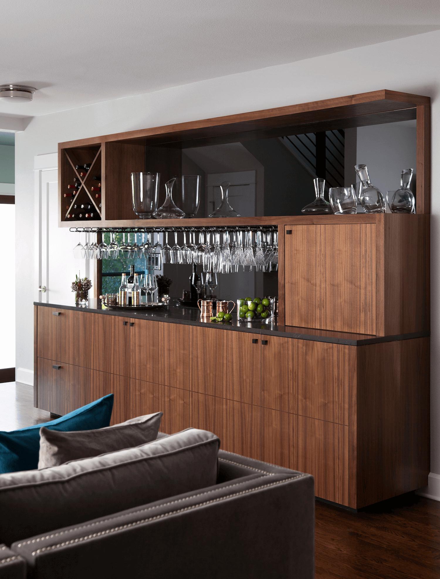Tarrytown Living Room Dry Bar | Robin Colton Interior Design Studio Austin Texas | www.robincolton.com