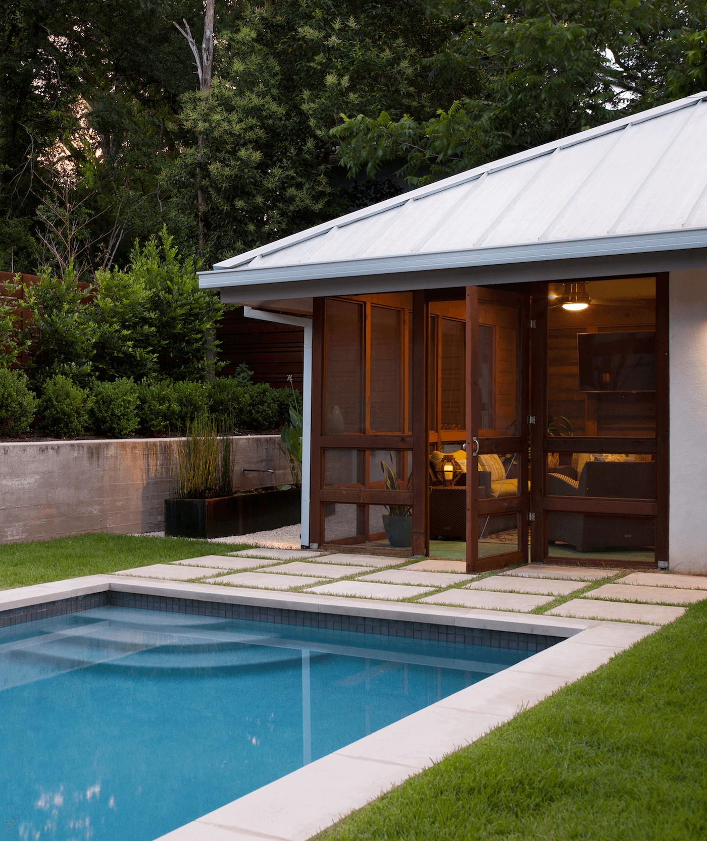 Tarrytown Exterior Screened Porch and Pool | Robin Colton Interior Design Studio Austin Texas | www.robincolton.com