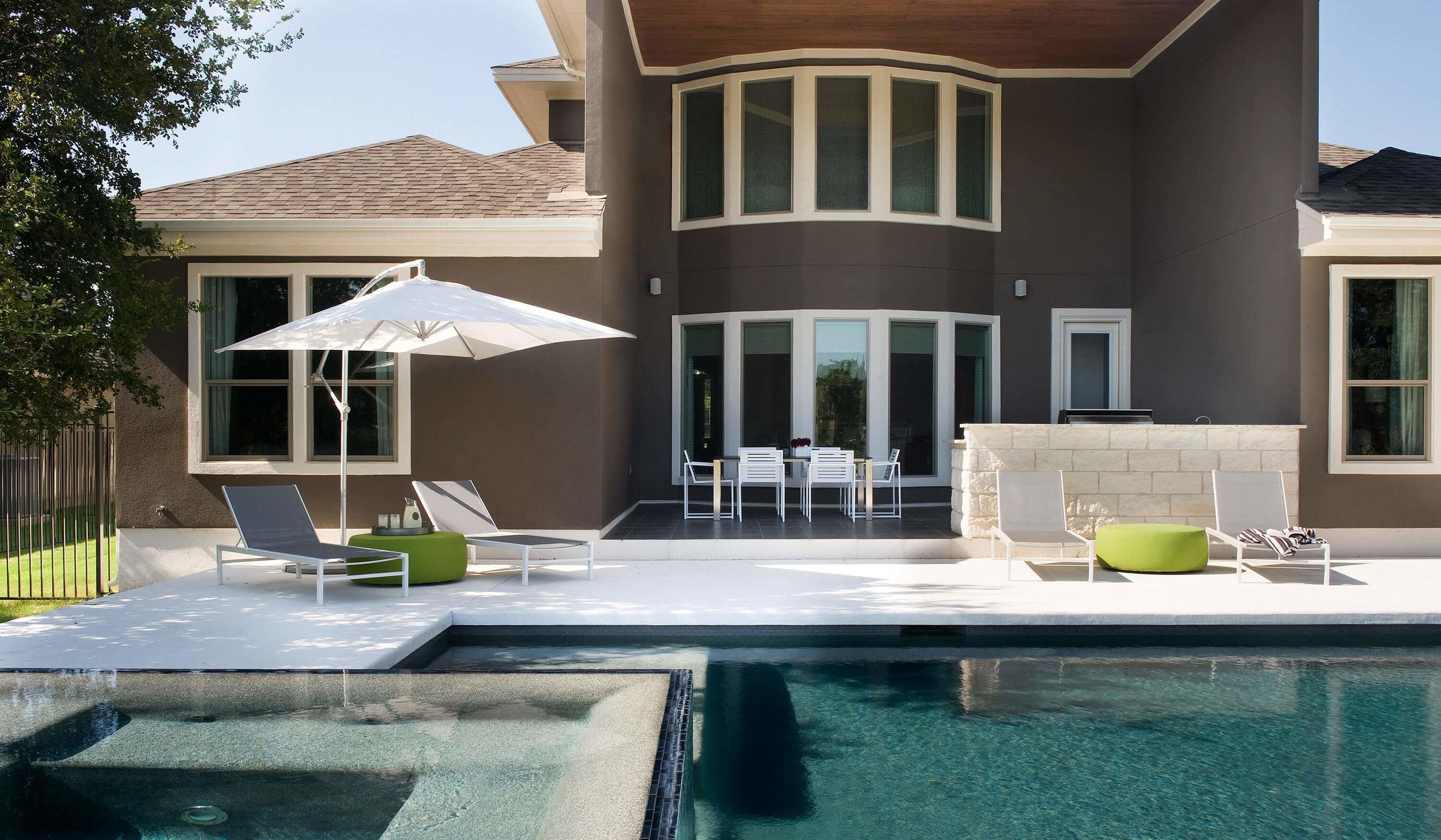 Brodie Springs Exterior Patio Pool | Robin Colton Interior Design Studio Austin Texas | www.robincolton.com