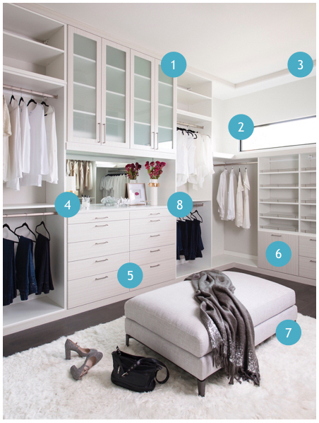 - 1 - Frosted Glass Doors2 - Natural Light3 - Custom Moulding4 - 1 - Frosted Glass Doors2 - Natural Light3 - Custom Moulding4 - Mirror Back with Personal Touches5 - Modern Wood Finish6 - Concealed Hampers7 - Cushy Seating & Plush Flokati Rug8 - Lined Jewelry Drawers