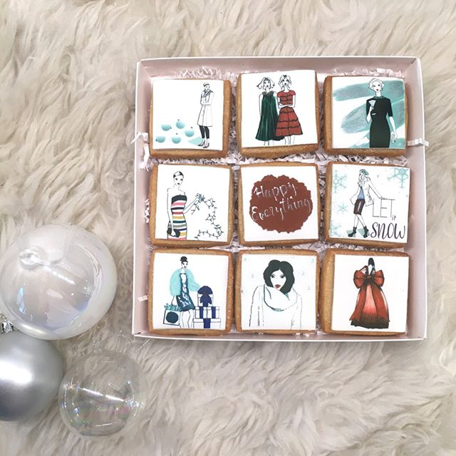 As an artist, my heart sings when I am sketching.  Returning to my fashion design roots, I have collaborated with Kellie's Baking Co to bring a special set of Holiday illustrations to life on her delicious cookies.  Printed on edible icing, these cookies are as tasty as they look!  Purchase my celebratory designs @kelliesbakingco and also at Society 6.