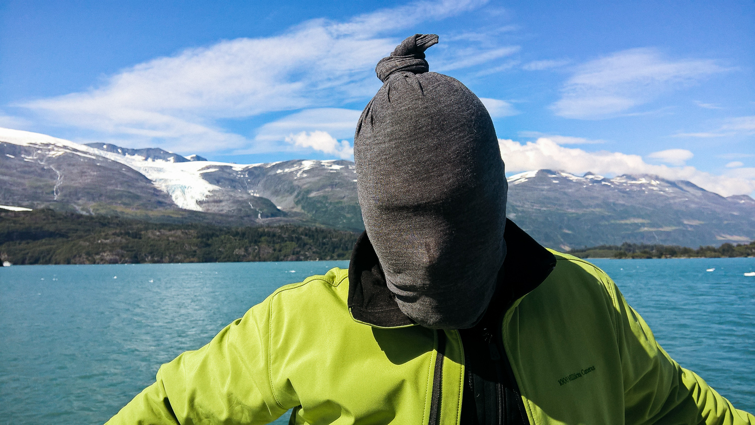 I didn't actually bring a coat with me to Alaska, which was an interesting choice. Our host was more prepared.