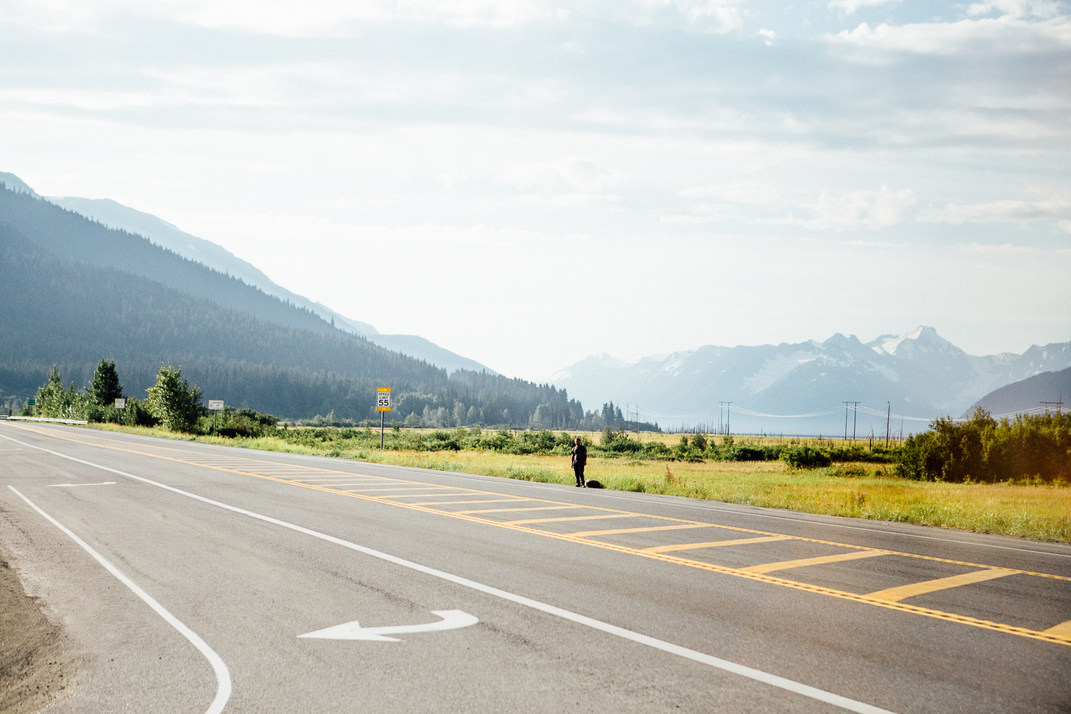 We saw this guy hitchhiking on the way to Alyeska resort. I bet he had an interesting story to tell. (DSLR)