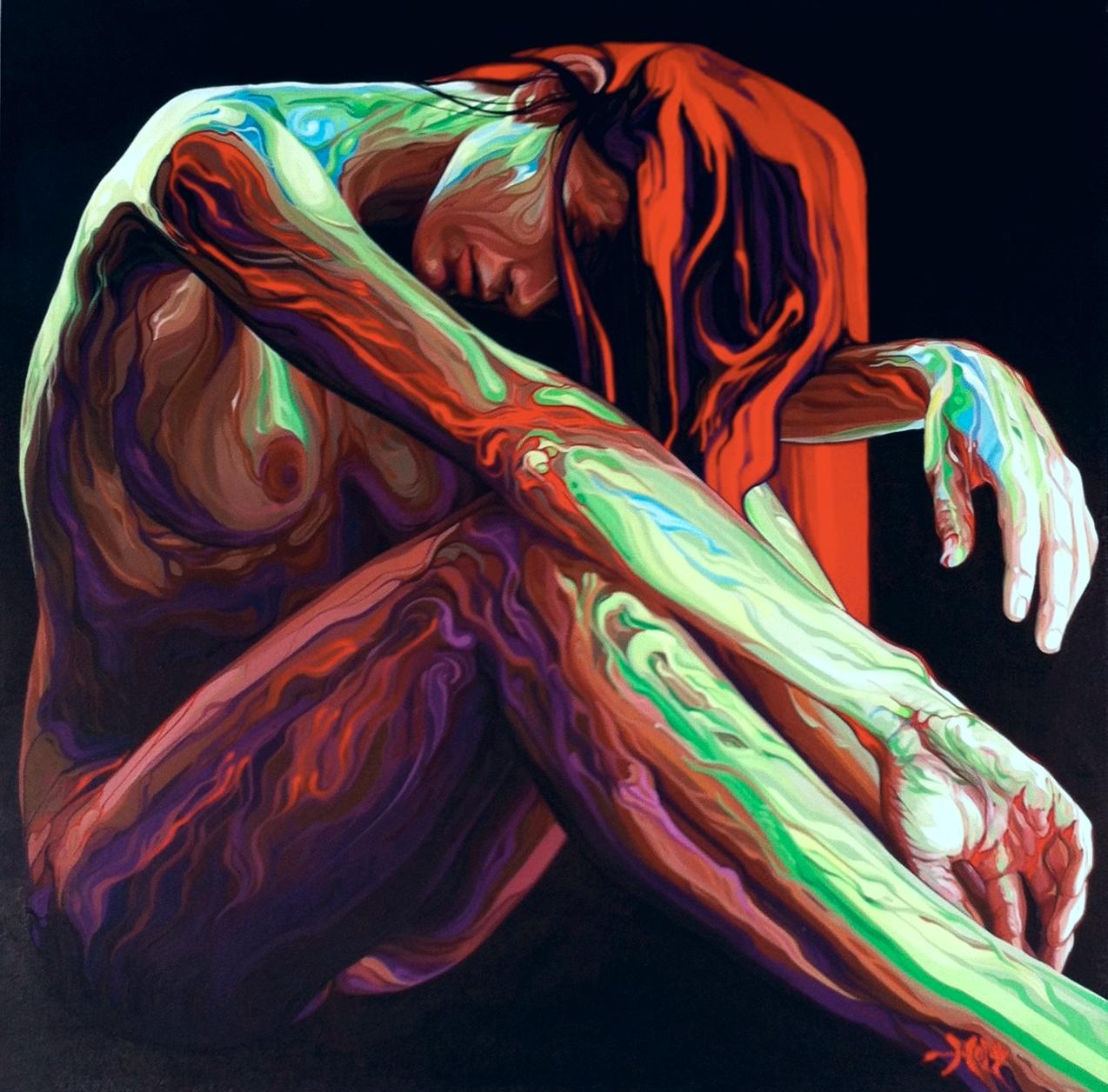 "Phil  Holt ""Hegira""  Acrylic on canvas 28x28 $3000"