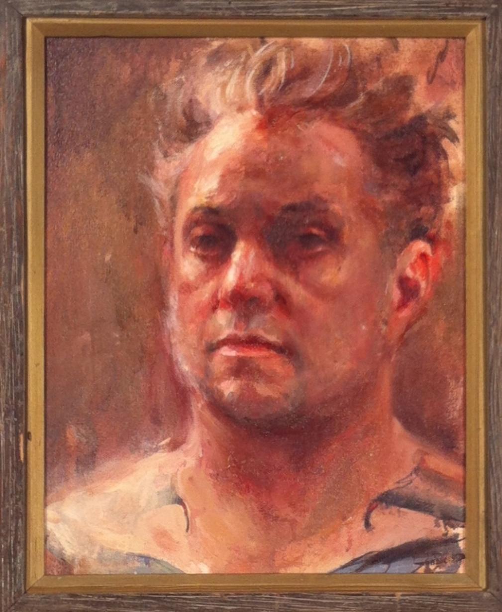 "Shawn Barber "" Self Portrait Study at 43"" Oil on canvas 21.5x17.5 $2500"