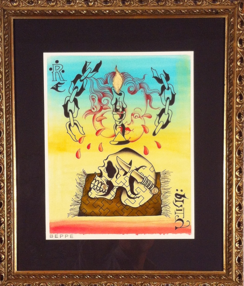 "Beppe Strambini ""Born Again"" Liquid acrylic, ink. & watercolor on paper 16x14 $350"