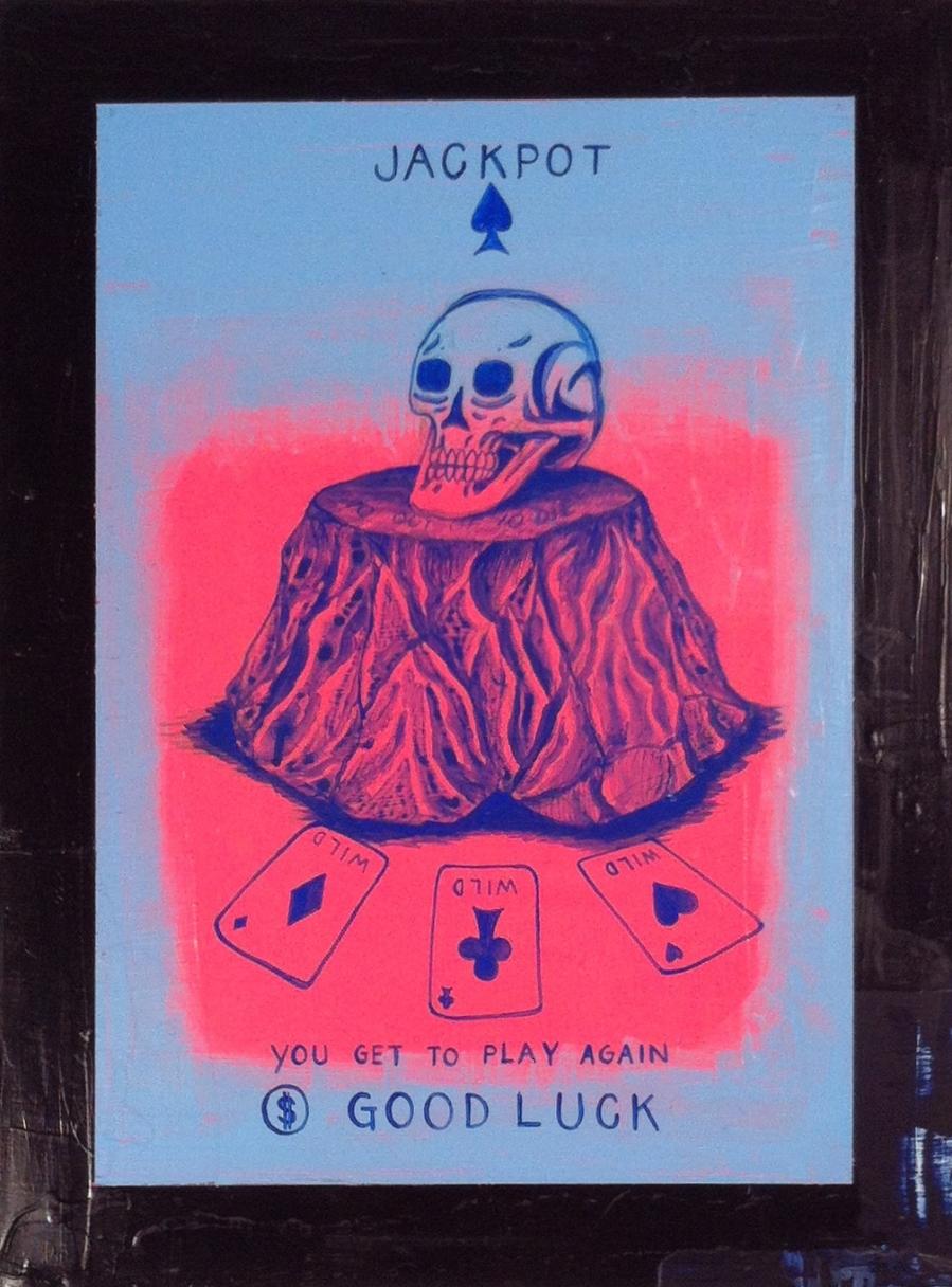 "Daniel Albrigo ""Bonus Round"" Acrylic on wood panel 24x18 $800"