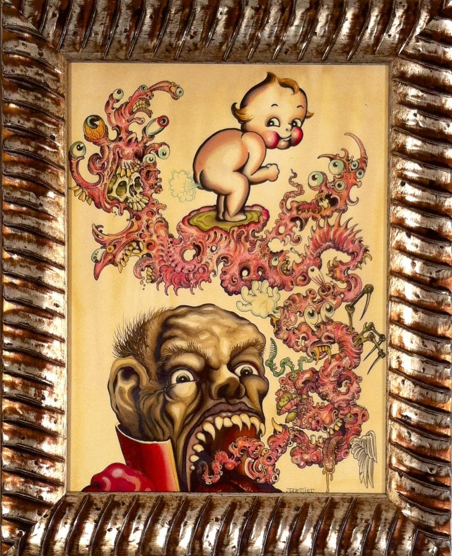 "Jeff Rassier ""Reeee Birthhernt"" Ink & watercolor on paper 21x17 $1200"