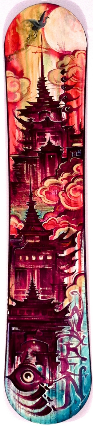 """Kevin Leblanc """"Within"""" Acrylic & watercolor on snowboard 56x11 $1000"""