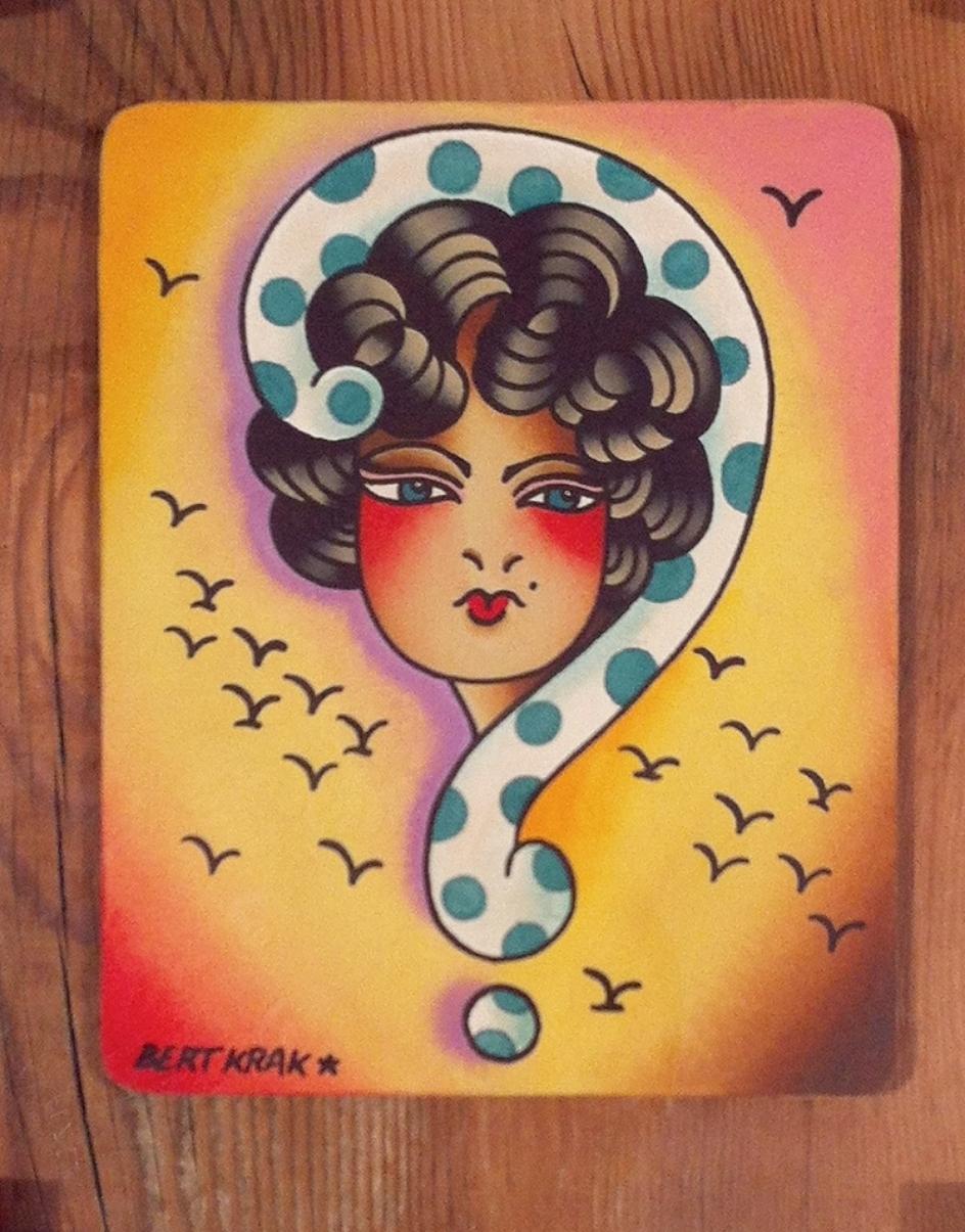 "Ber Krak ""The Beautiful Question"" Ink & watercolor on board 14.5x12 $1700"