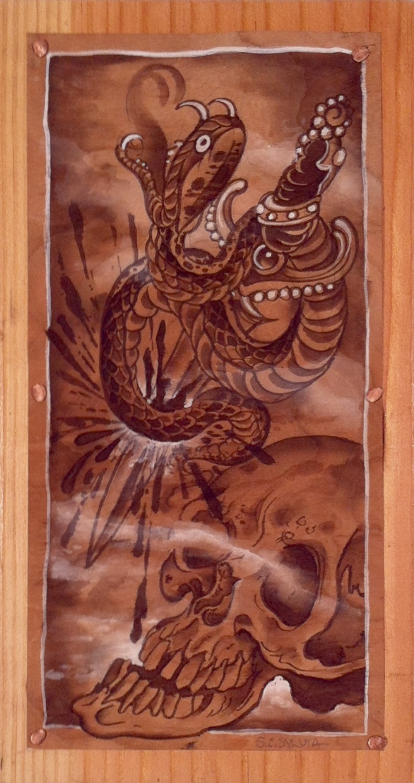 "Scott Sylvia ""Its All That Shit"" Liquid acrylic on wood 13.5x7 SOLD"