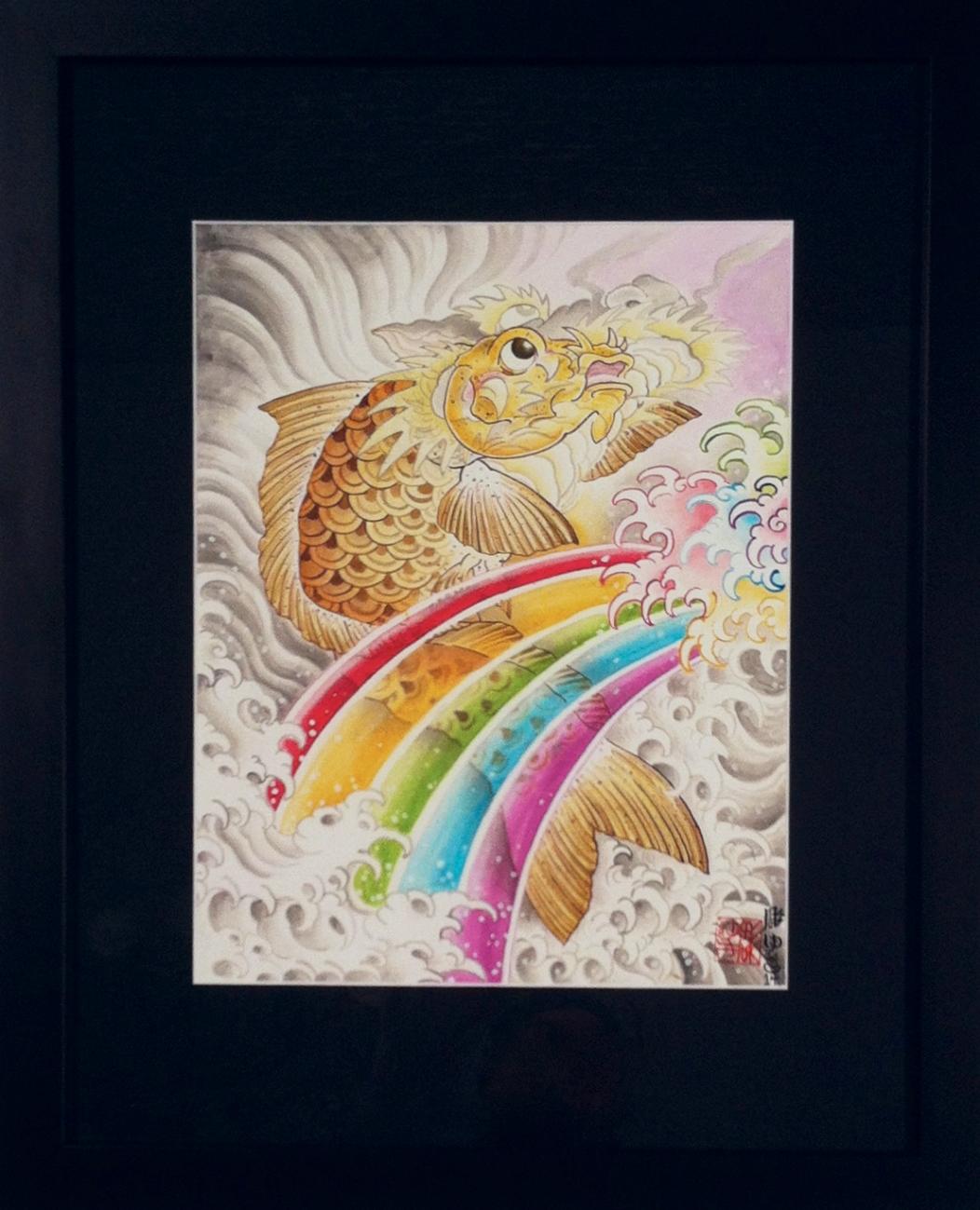 """Jill Bonny """"A dragon is born"""" Watercolor on board 22.5x 18 $600"""