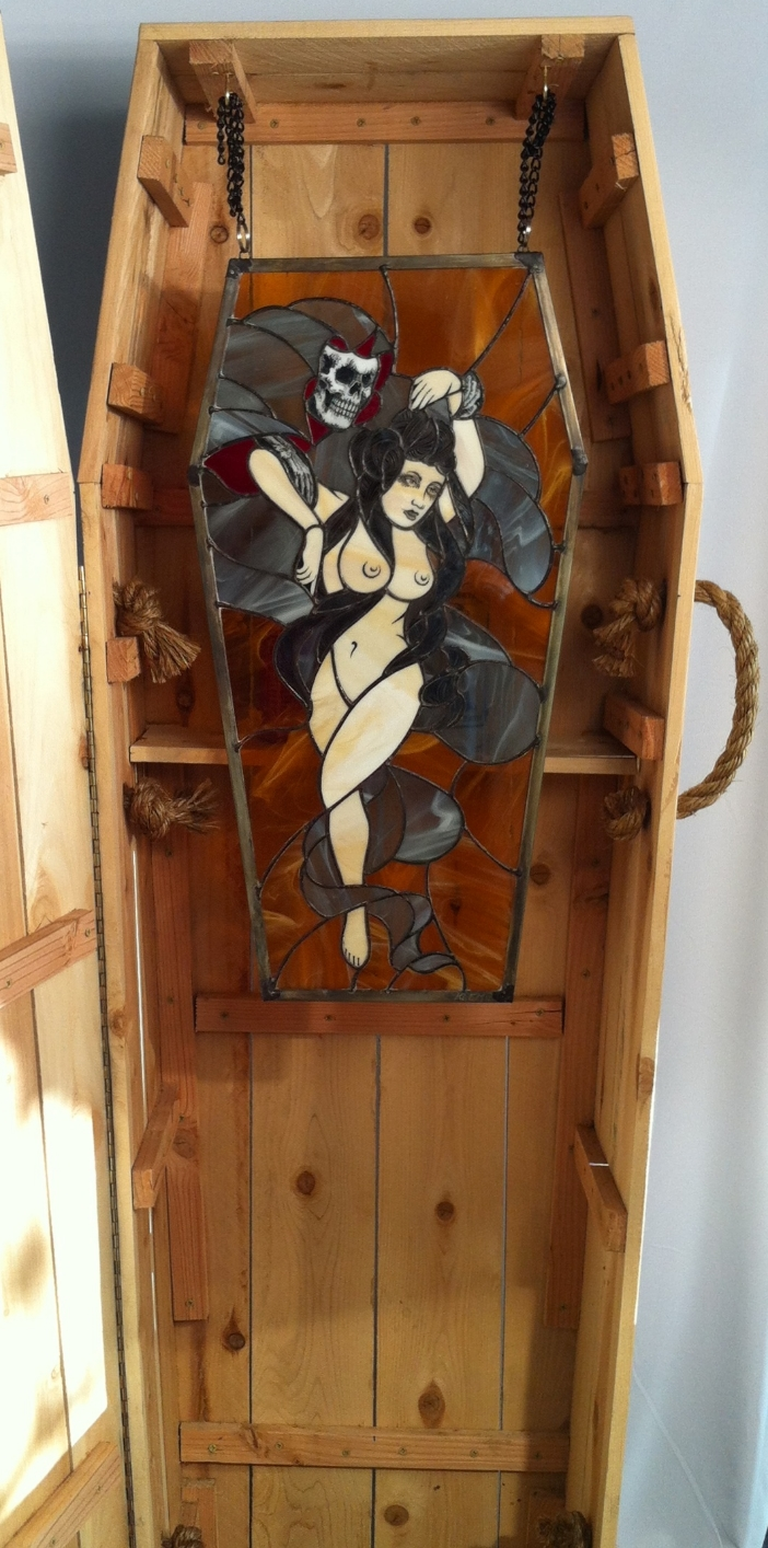 """Klem """"Fear the Creaper"""" Kiln fired stained glass, wood, nails, & wire 28x15 Coffin 70x22 SOLD"""
