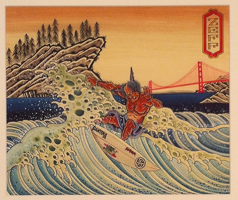 "Julian Zeff ""Rise & Shine, Heaven No, Hell Yes"" Watercolor & ink on paper 16x19 $1000"