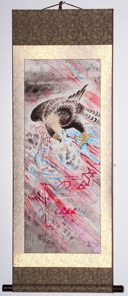 """Hawk on the Rocks 46""""x20"""" $1600.00"""