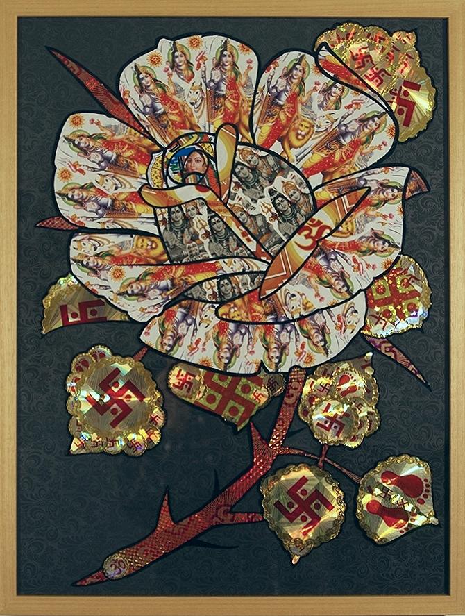 Golden Rose  Multi Media 25 1/4 in. x 19 1/4 in. framed $1200