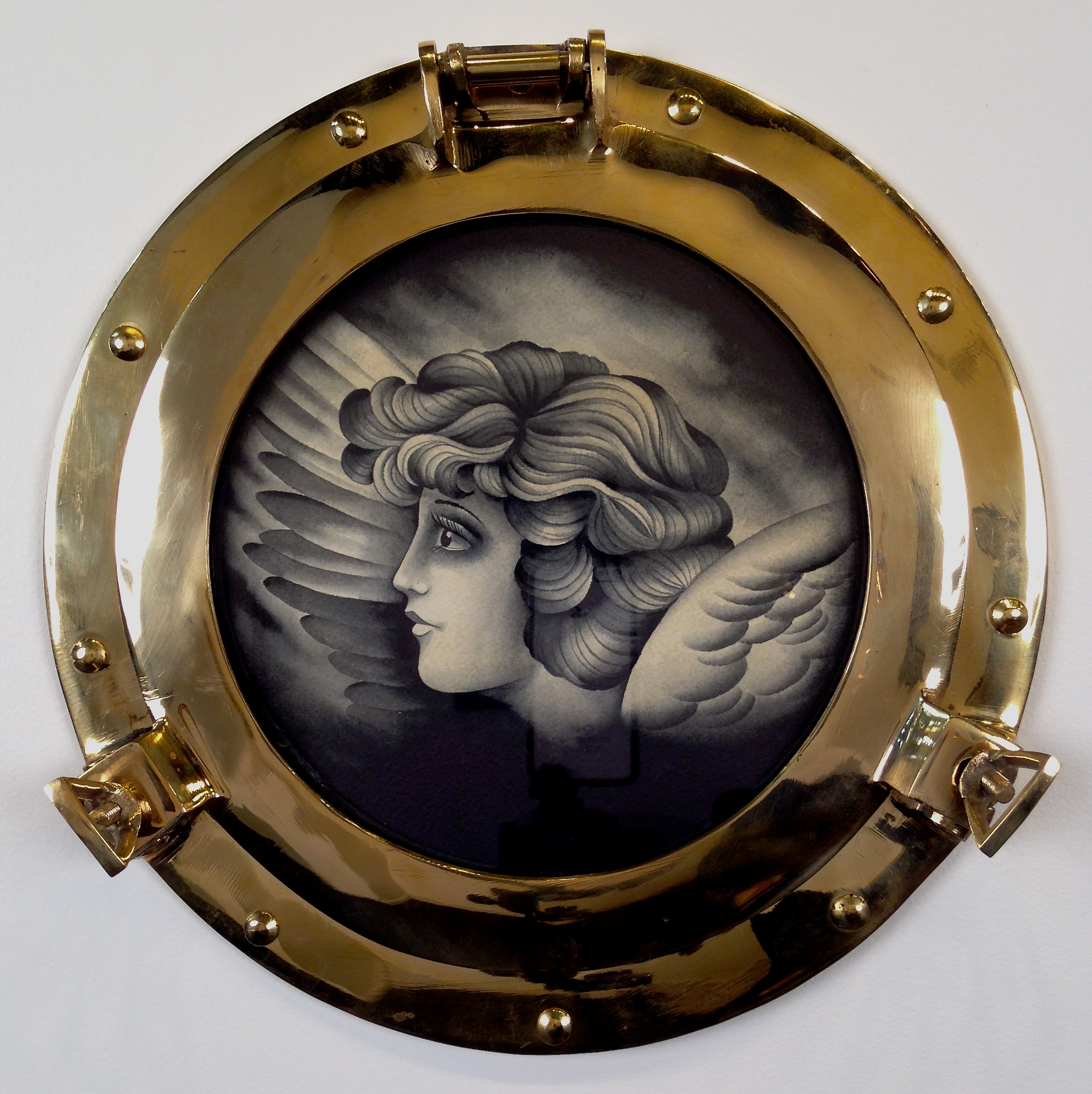 """Port Hole: """"Redemption"""" by P. Dobleman Watercolor on Paper 11 in. round framed $400"""