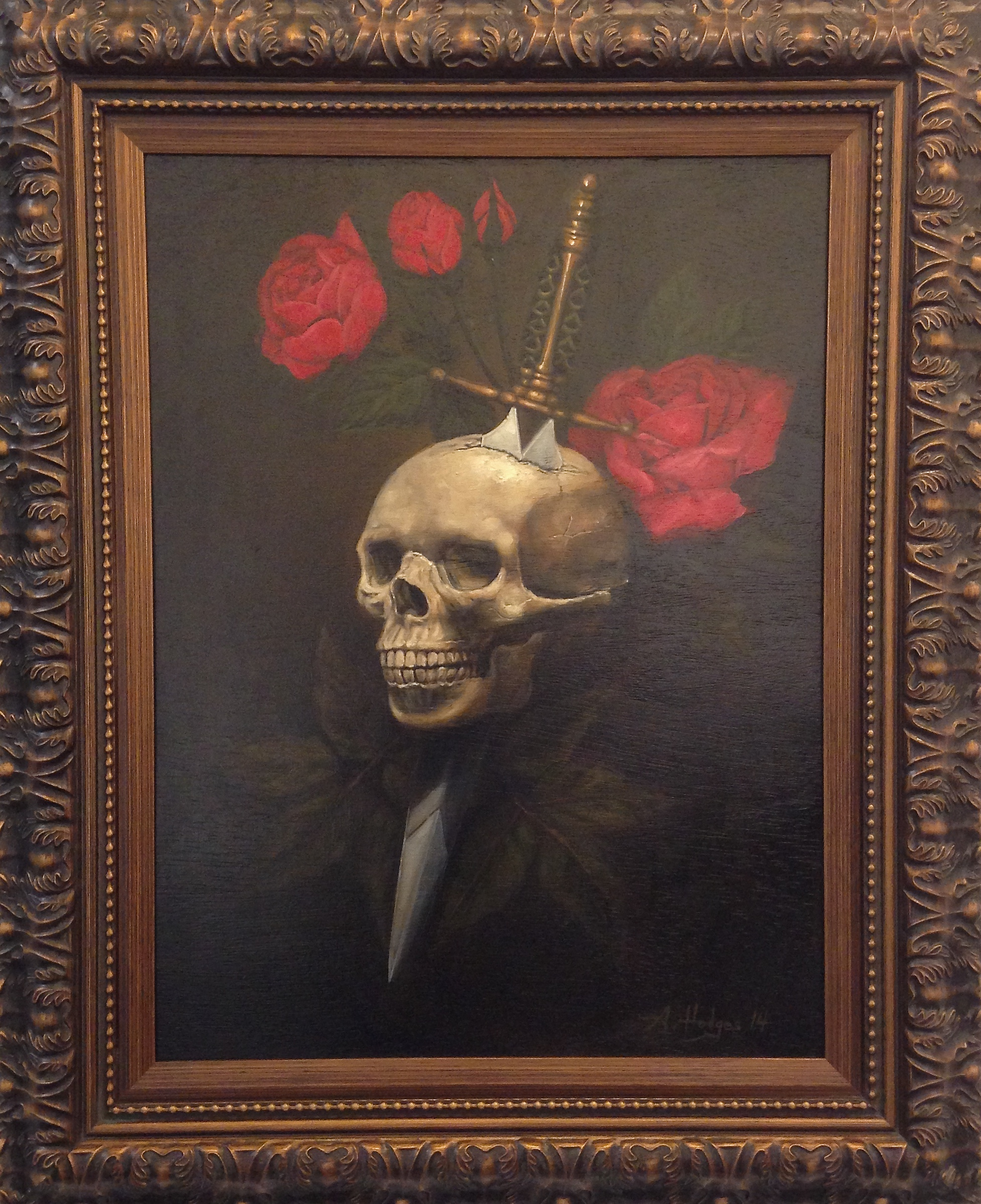 """""""Betrayal"""" by A. Hodges Oil on Canvas 24 in. x 18 in. framed SOLD"""