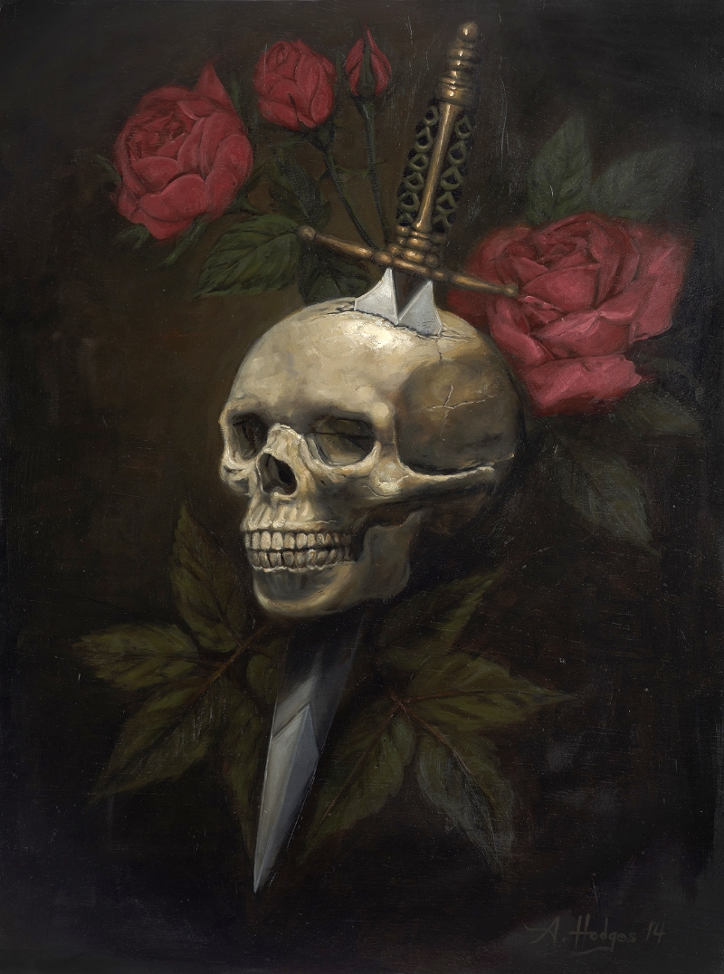 """Ten giclee prints on cotton rag paper will be available of  Aaron Hodges's  'Betrayal' piece. Originally painted in oil on canvas. The print is reproduced to scale at 18""""w x 24""""h."""