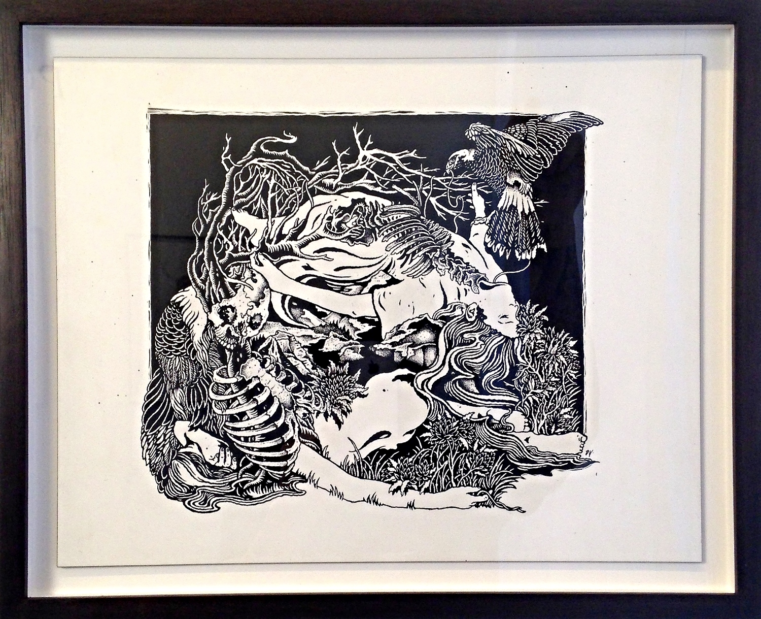 """SILVER CHORD   India Ink on Wood Panel Framed 13 1/4 x 16 1/4 $1625 Unframed 11x14 $1500 Intronaut album cover from """"Habitual Levitations""""."""