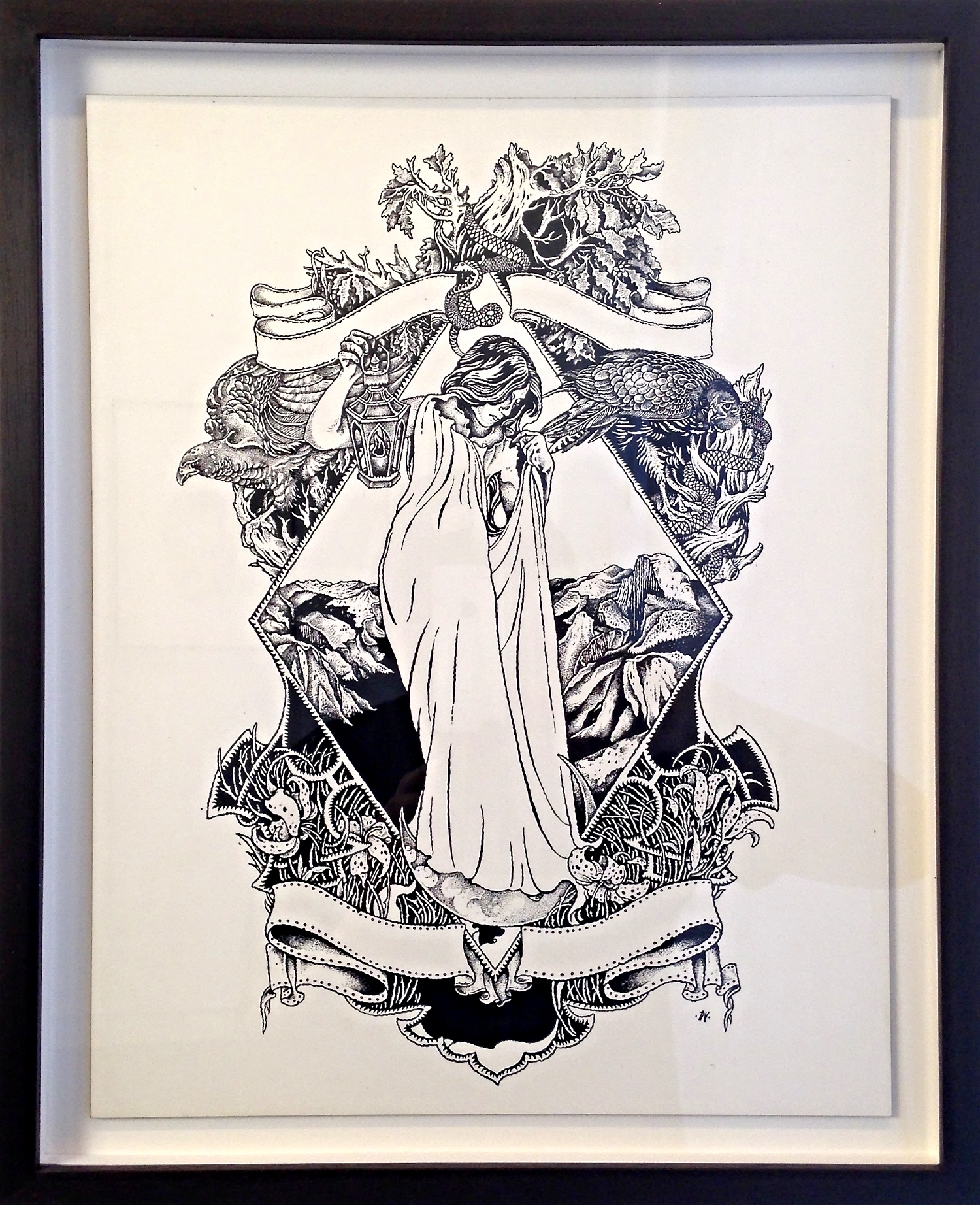 DON'T BEND, ASCEND   India Ink on Wood Panel NOT FOR SALE Godspeed You! Black Emperor west coast tour poster.