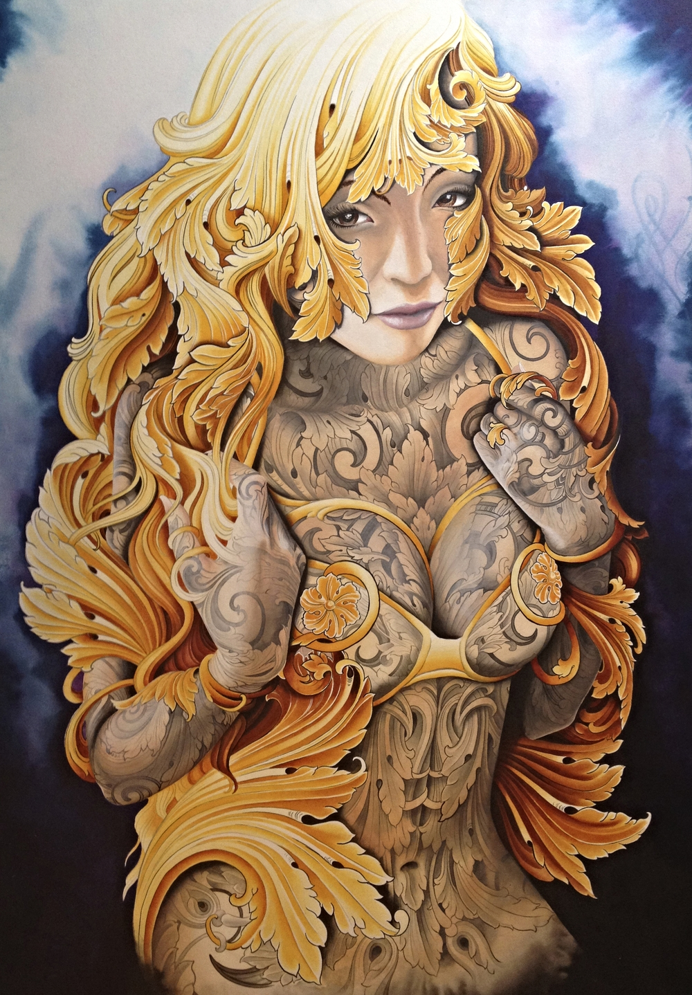 """""""Victoria"""" Acrylic on Board 18""""x26"""" framed $2000.00 (Prints Available $100)"""