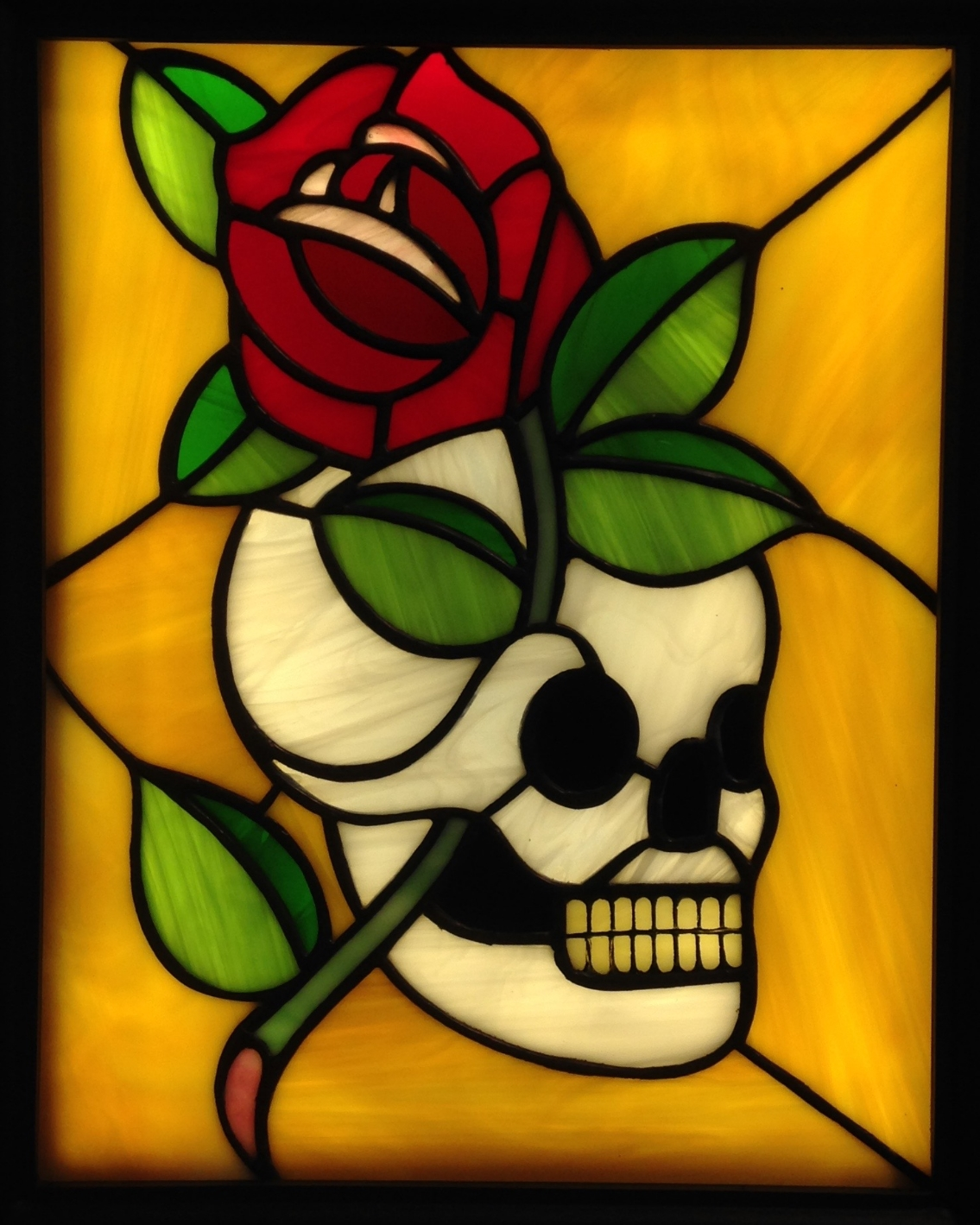 """SUM QUOD ERIS, FUI QUOD SIS"" 11""X14"" (SIZE OF GLASS ONLY) Foiled stained glass, kiln fired glass paint, & LED lights SOLD"