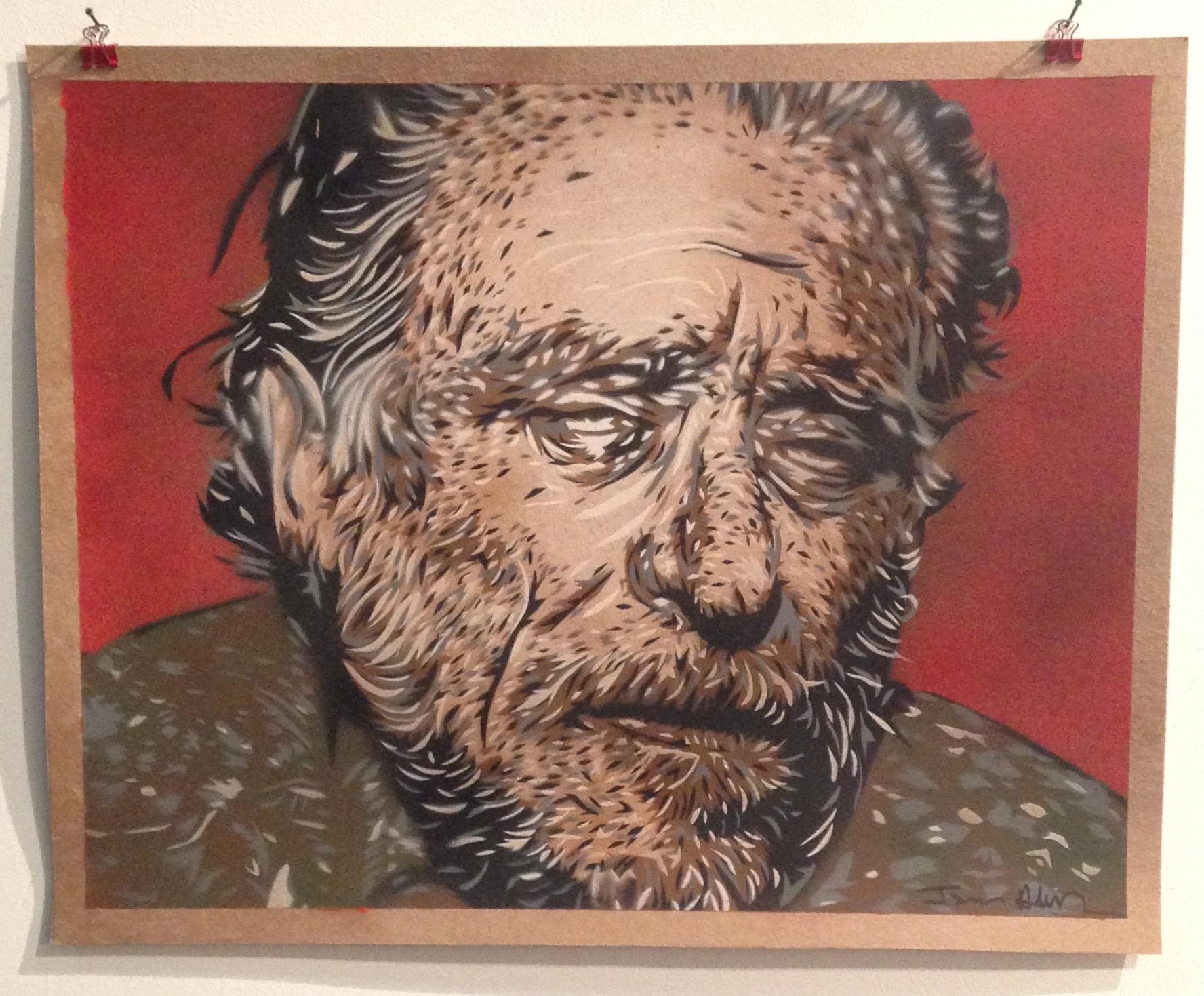 """""""Bukowski""""  16""""x20"""" stencil, aerosol, latex paint on paper $140"""