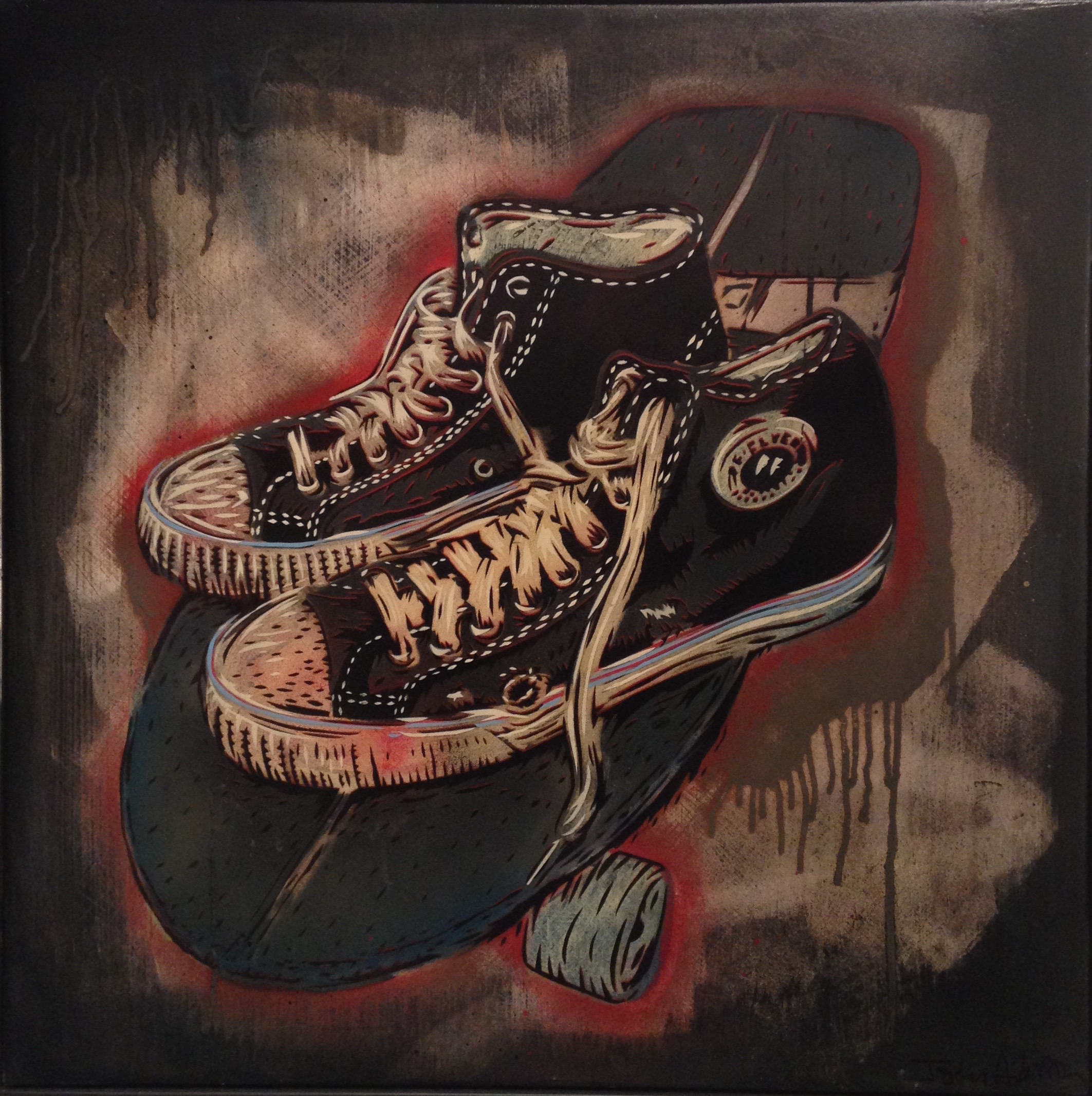 """Skate Shoes""  24""x24"" stencil, aerosol, latex paint on wood panel  $450"