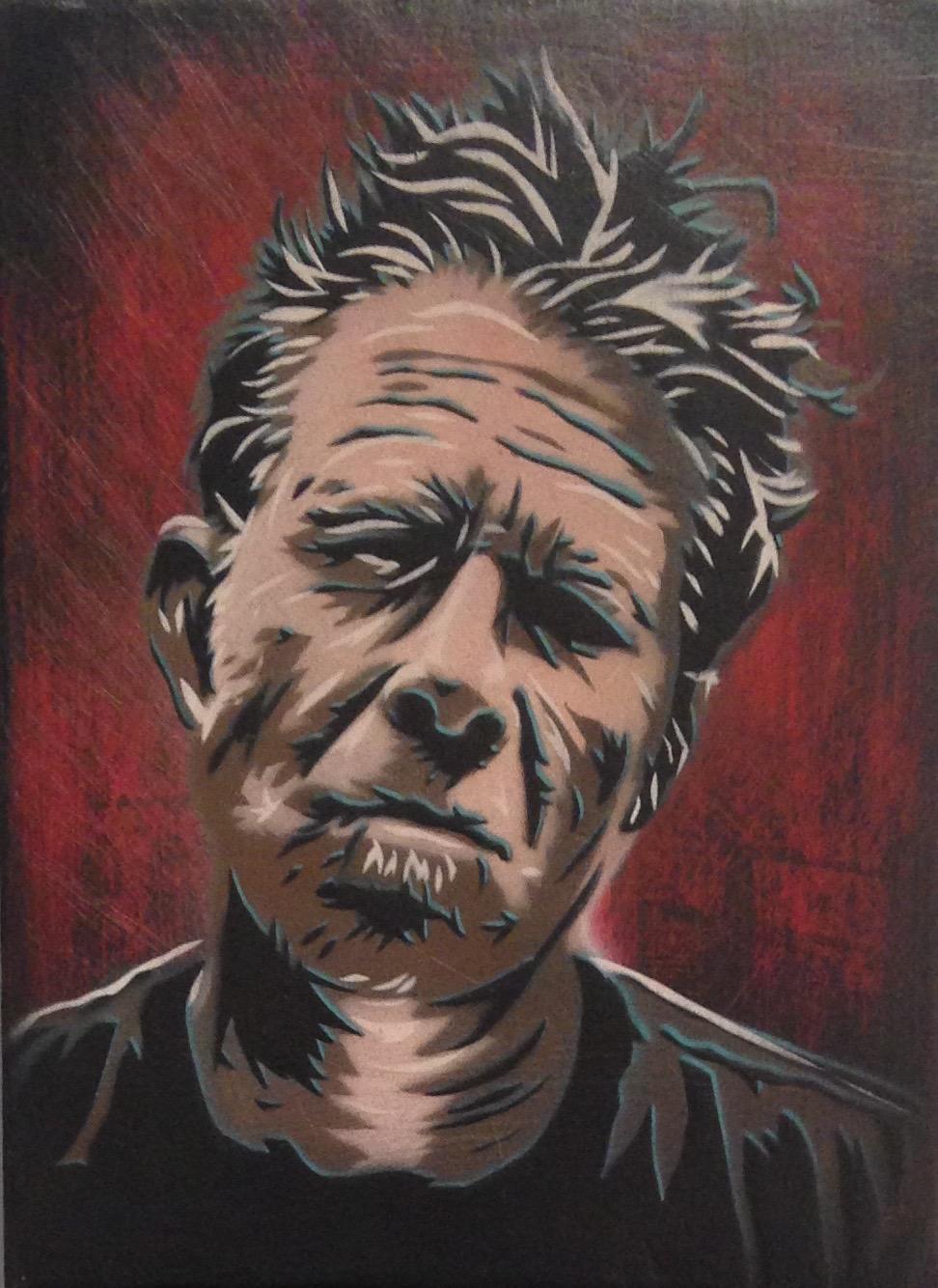 """Tom Waits"" 9""x12"" stencil, aerosol, latex paint on wood panel $250"