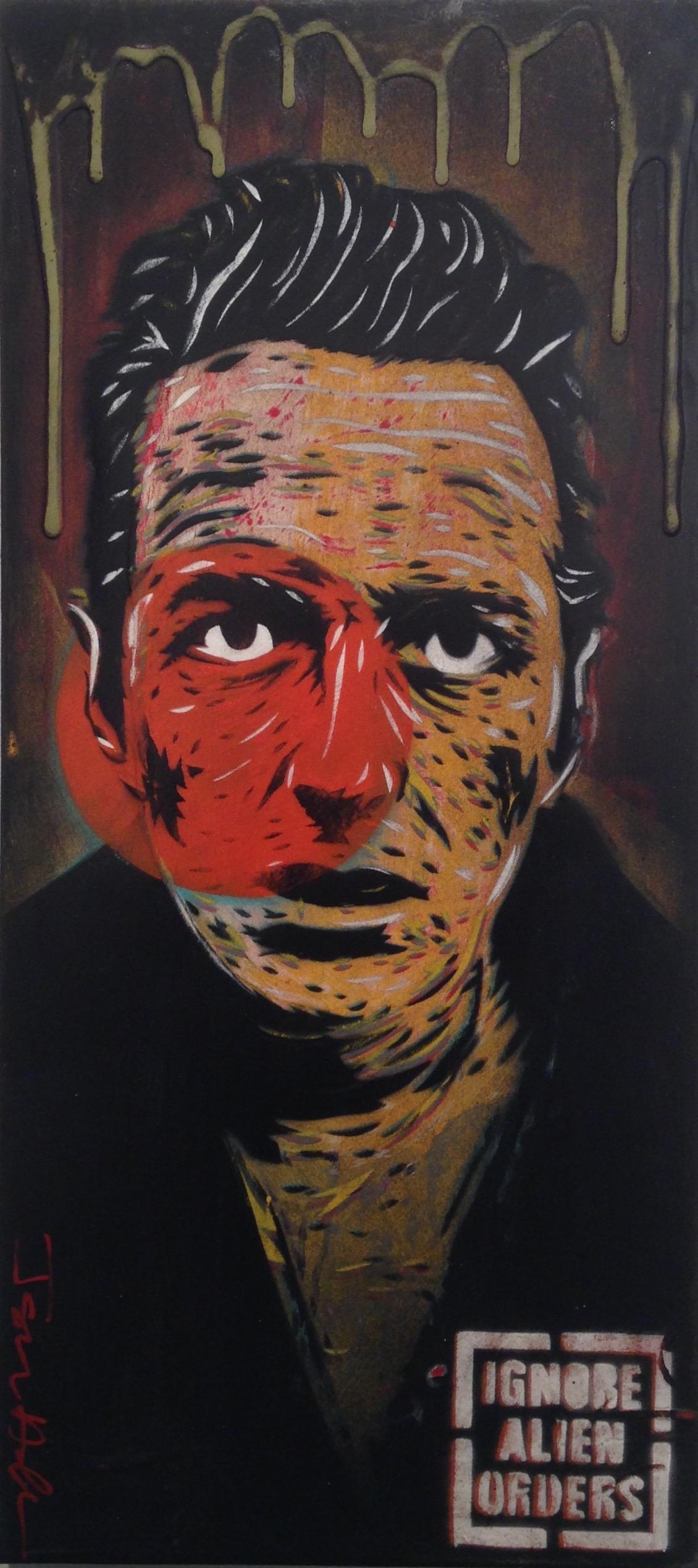 """Strummer 1"" 10""x22"" stencil, aerosol, latex paint on wood panel $300"