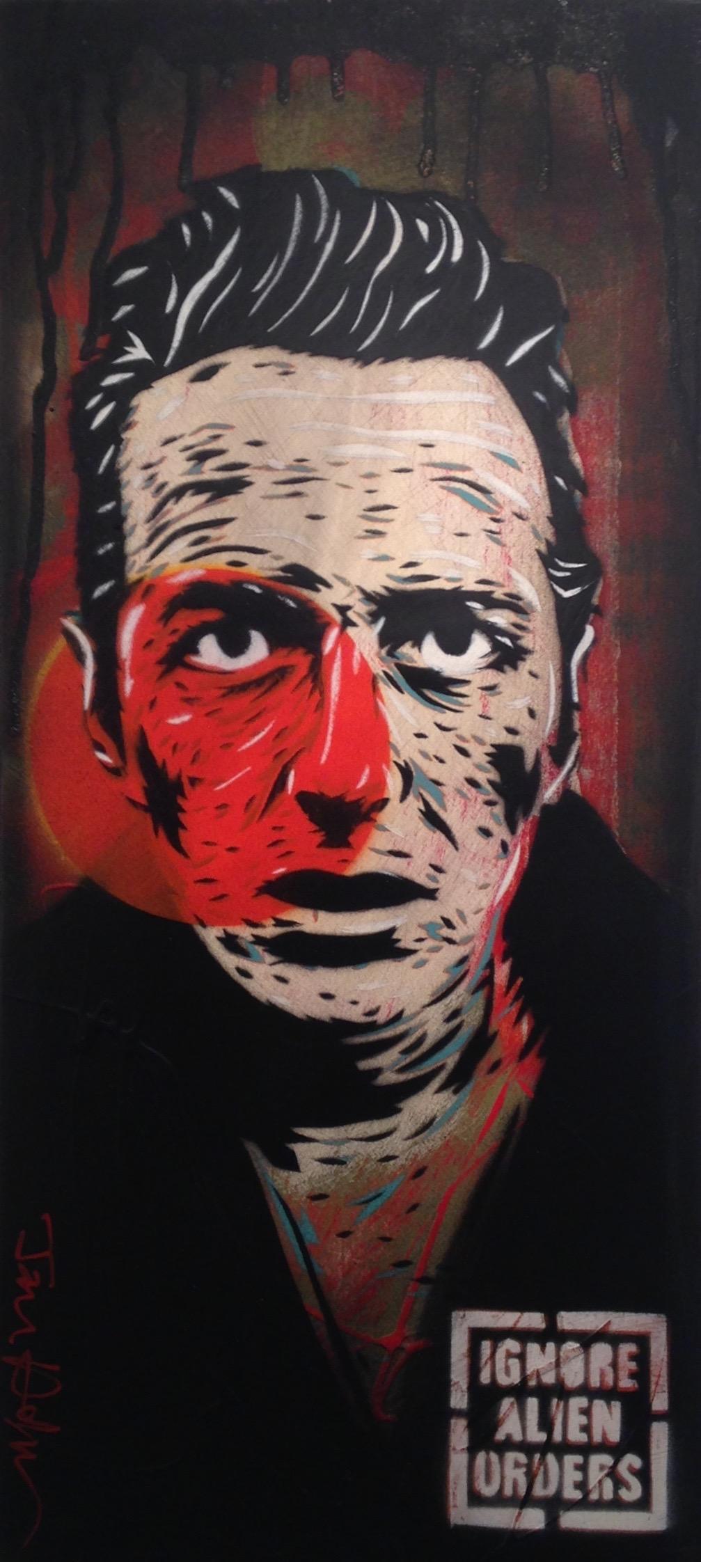 """Strummer 2"" 10""x22"" stencil, aerosol, latex paint on wood panel SOLD"