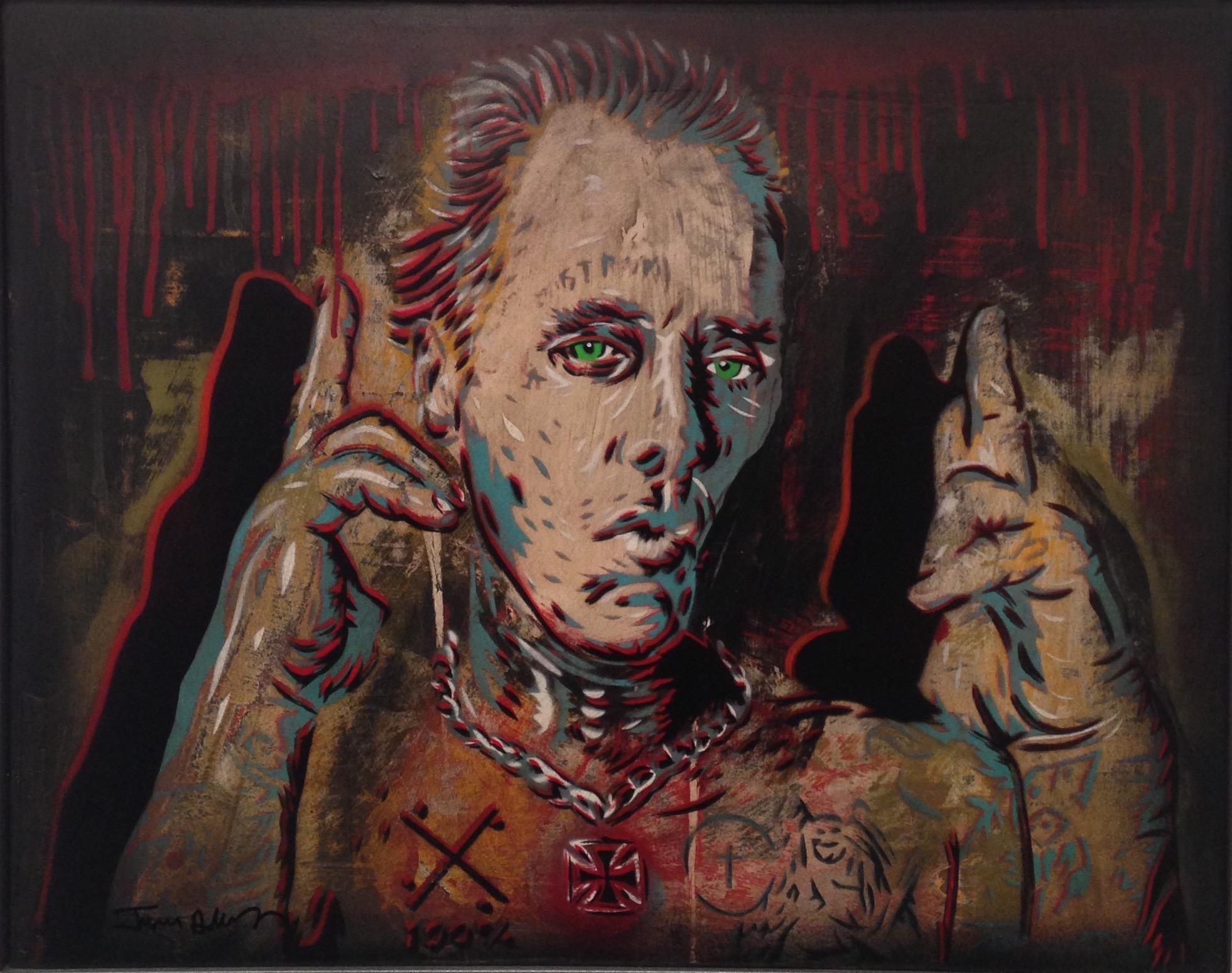 """JAY BOY"" 16""x20"" stencil, aerosol, latex paint on wood panel $600"