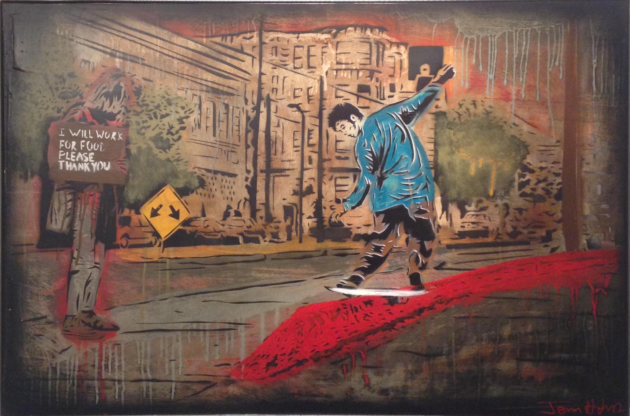 """""""SARGE"""" 24""""x26"""" stencil, aerosol, latex paint on wood panel $650"""