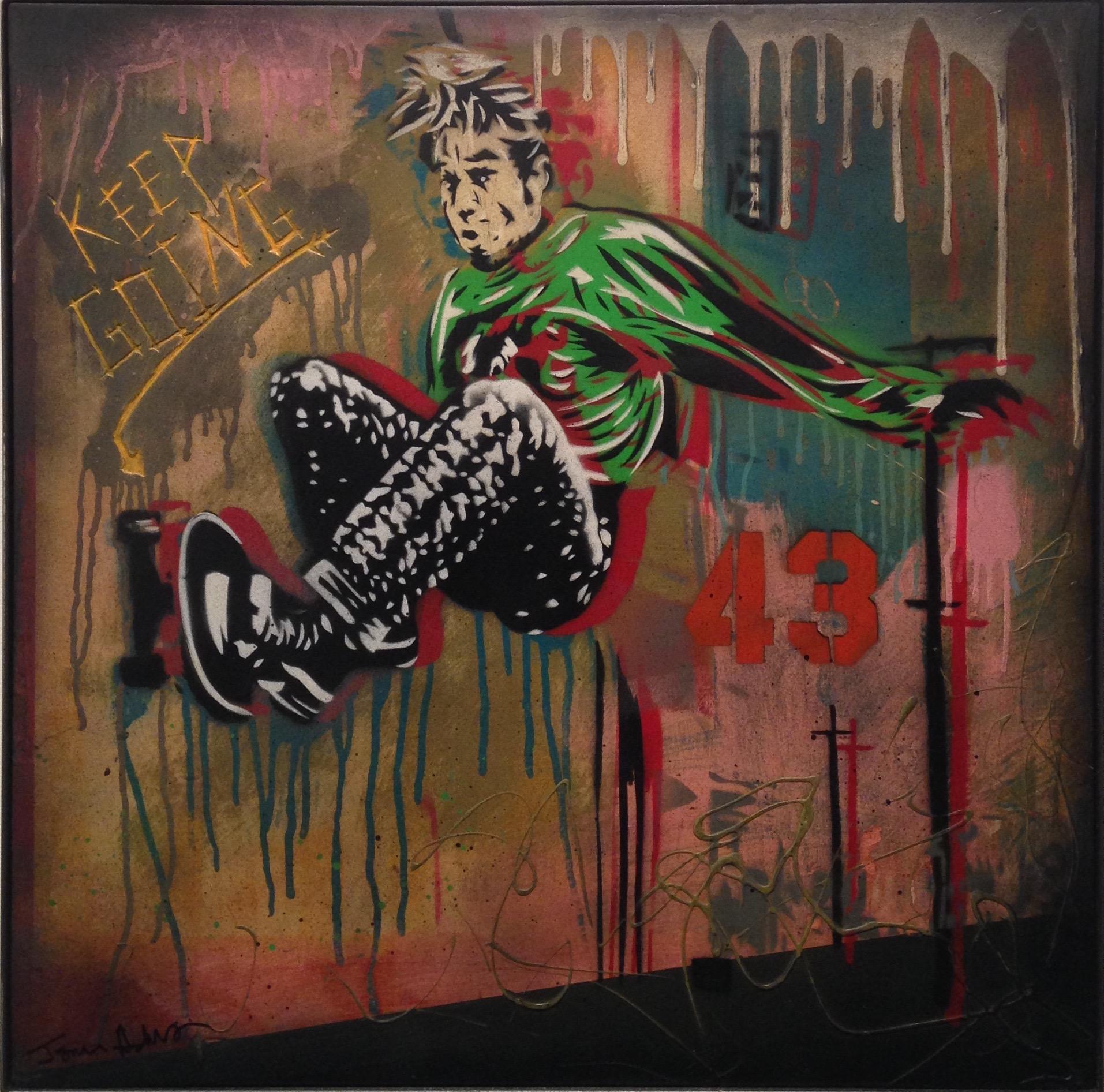 """""""Jim Ride"""" 24""""x24"""" stencil, aerosol, latex paint on wood panel $600"""