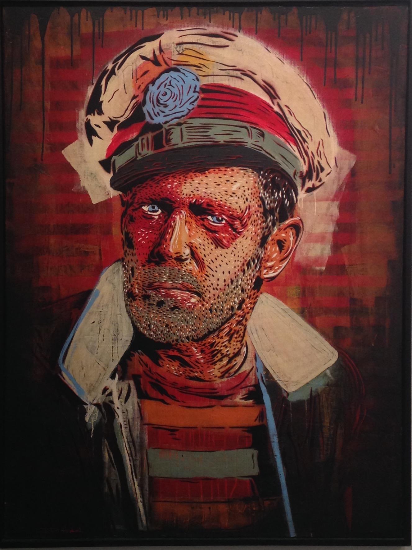 """PAUL"" 50""x66"" stencil, aerosol, latex paint on wood panel $3000"