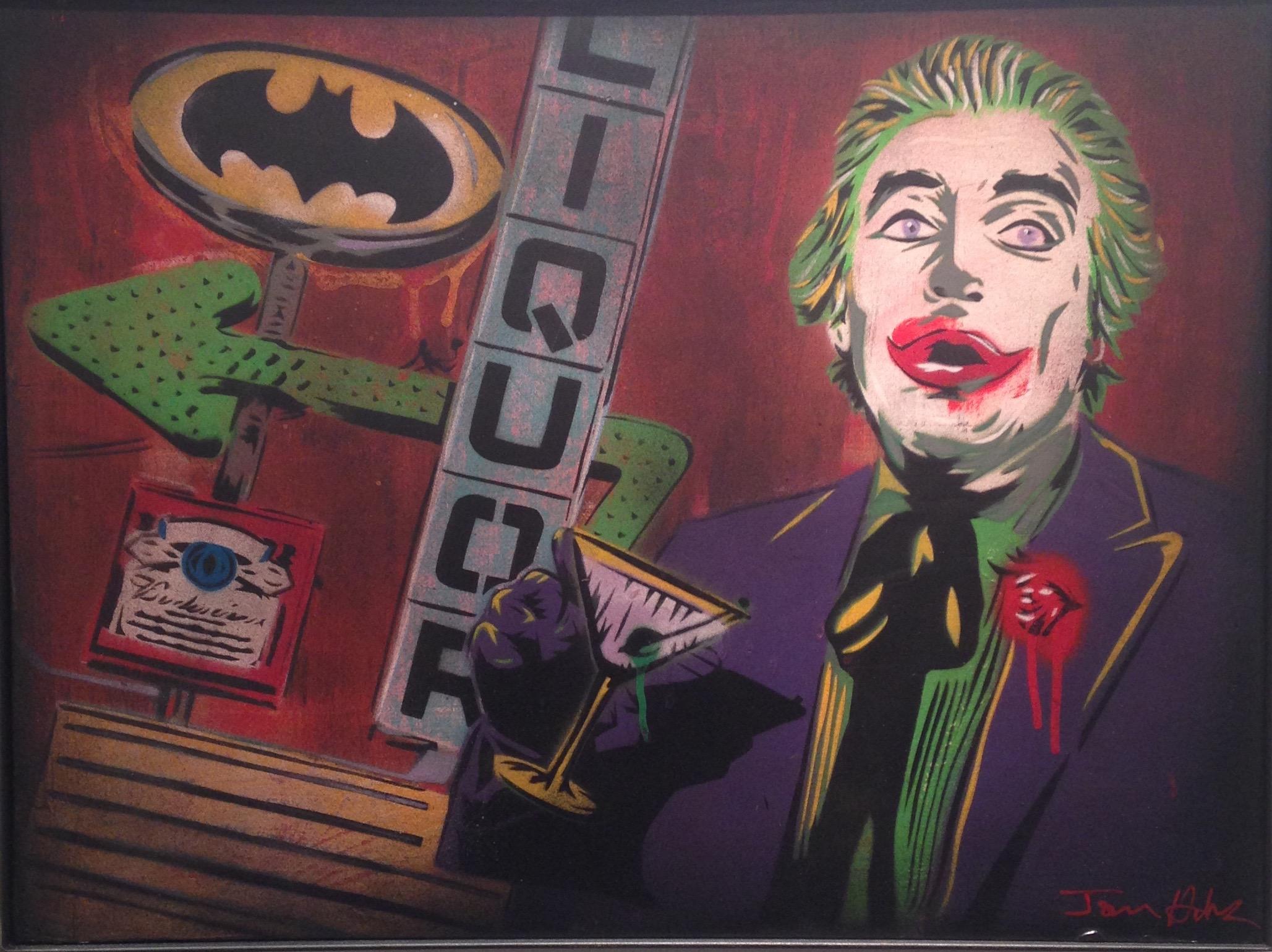 """Drunken Joker"" 18""x24"" stencil, aerosol, latex paint on wood panel $500"