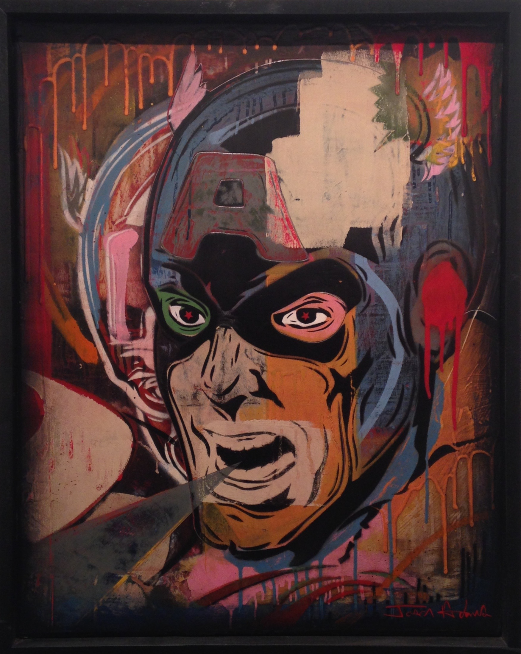 """The Captain"" 24""x36"" stencil, aerosol, latex paint on wood panel $750"