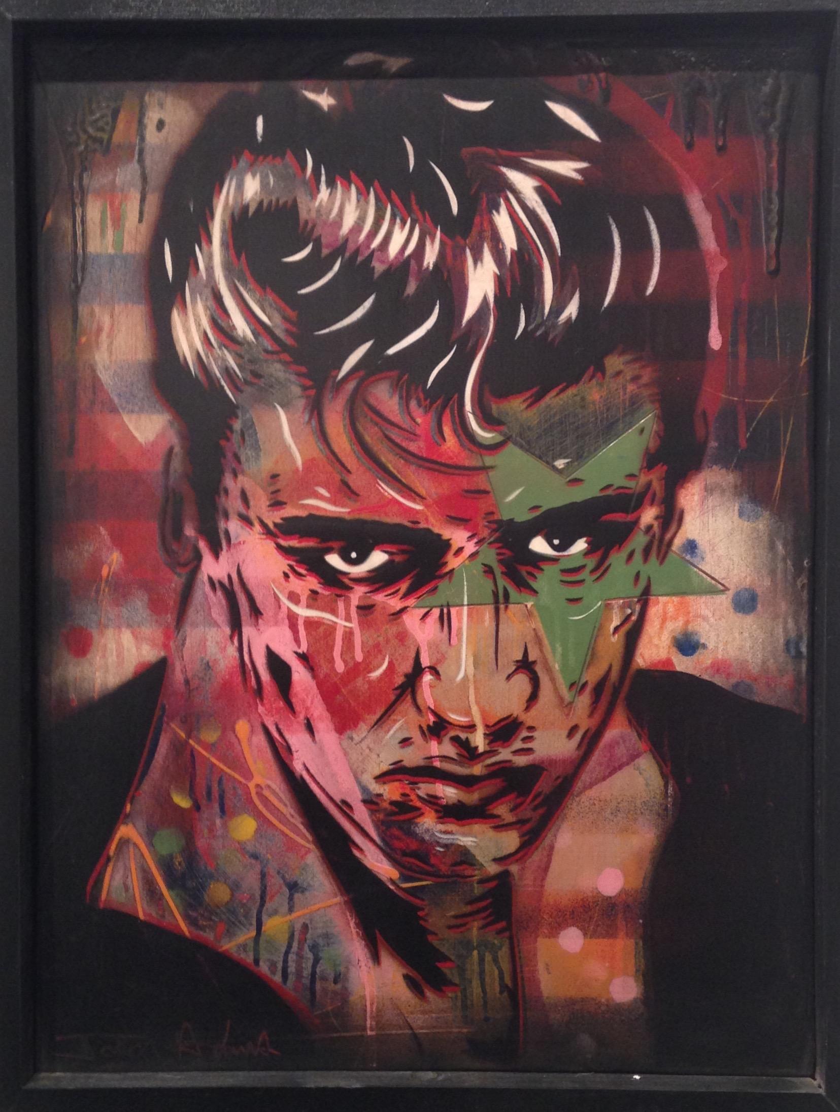 """The King"" 18""x24"" stencil, aerosol, latex paint on wood panel $575"