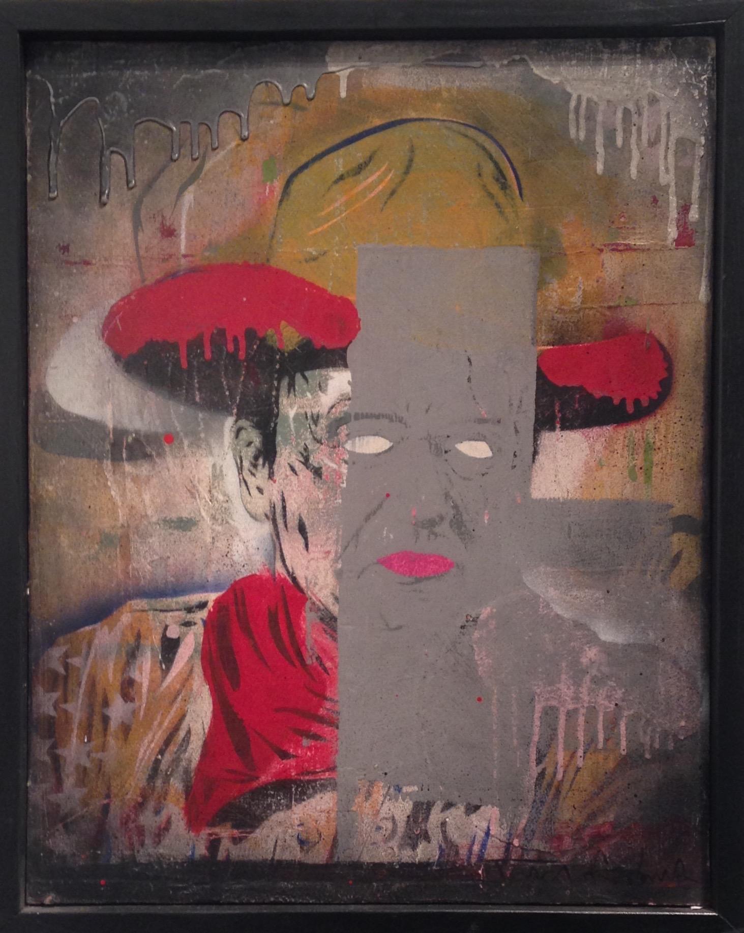 """JOHN"" 16""x20"" stencil, aerosol, latex paint on wood panel $450"